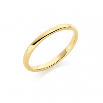 18ct yellow gold 2mm Oxford wedding ring