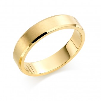 18ct yellow gold brushed finish 5mm New Windsor wedding ring