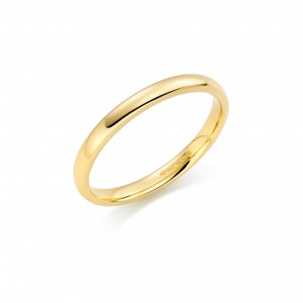 18ct yellow gold 2mm Cambridge wedding ring