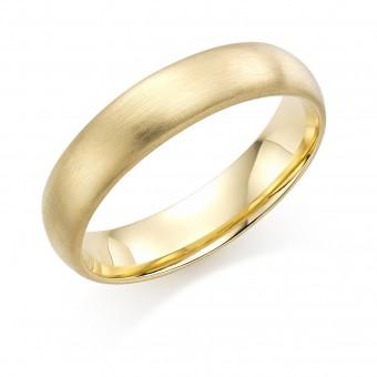 18ct yellow gold brushed finish 5mm Cambridge wedding ring.