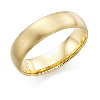 18ct yellow gold brushed finish 6mm Cambridge wedding ring.