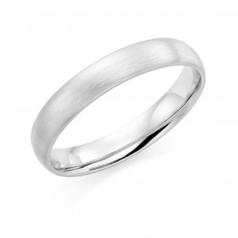 Platinum brushed finish 4mm Cambridge wedding ring