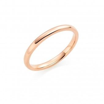 18ct red gold 2mm Oxford wedding ring