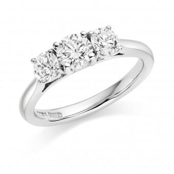 Platinum Liona round cut diamond three stone ring 0.80cts