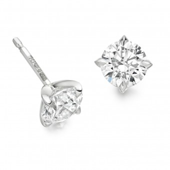 Platinum Natalia round cut diamond earrings 1.80cts