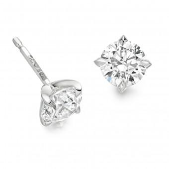 Platinum Natalia round cut diamond earrings 0.60cts