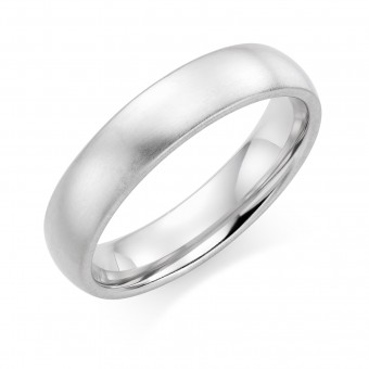 Platinum  brushed finish 5mm Oxford wedding ring