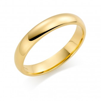 18ct yellow gold 4mm Cambridge wedding ring