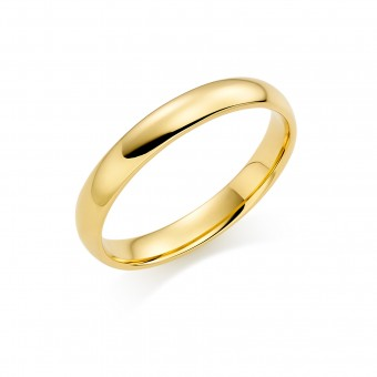 18ct yellow gold 3mm Cambridge wedding ring