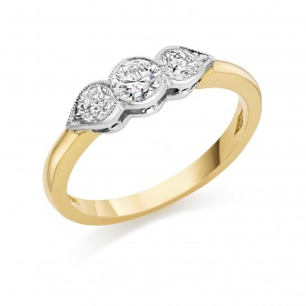 18ct yellow gold Donatella three stone diamond ring 0.77cts