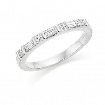 Platinum Gavriella baguette and princess cut diamond half eternity ring 0.32cts