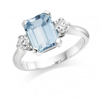 Platinum Amelia aquamarine and diamond three stone ring