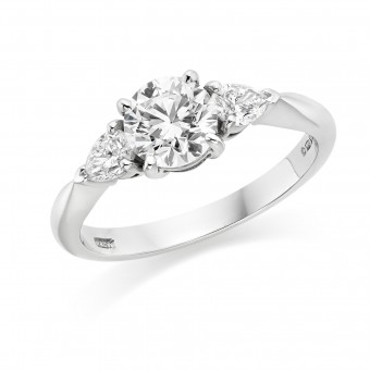 Platinum Gabriella round cut diamond ring, diamond set shoulders 0.81cts
