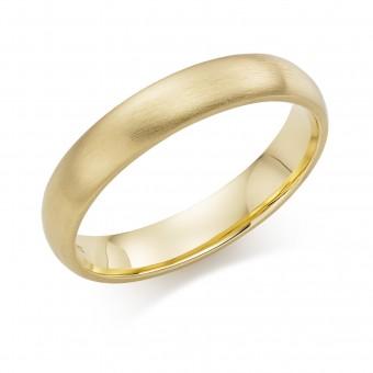 18ct yellow gold brushed finish 4mm Cambridge wedding ring