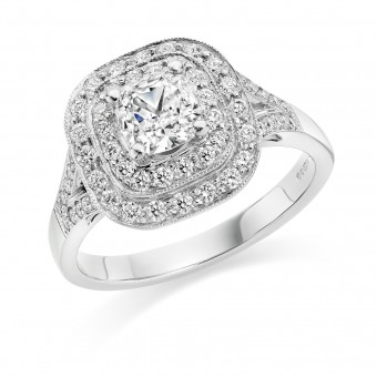 Platinum Duplice cushion cut double halo ring 1.45cts