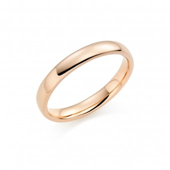 18ct red gold 3mm Oxford wedding ring