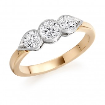 18ct rose gold Donatella three stone diamond ring 0.56cts