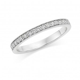 Platinum Amalia round cut diamond true half eternity ring 0.18cts