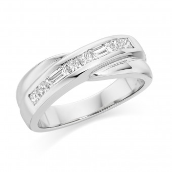 Platinum Carmelina princess and baguette cut diamond eight stone ring 0.50cts