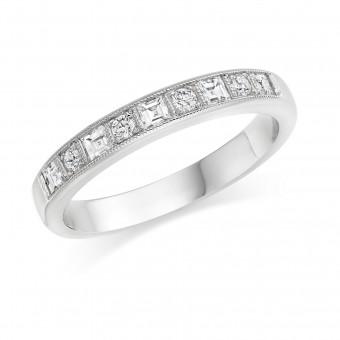 Platinum Balbina carré and round cut diamond half eternity ring 0.28cts