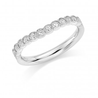 Platinum Cianna round cut diamond contoured half eternity ring 0.38cts