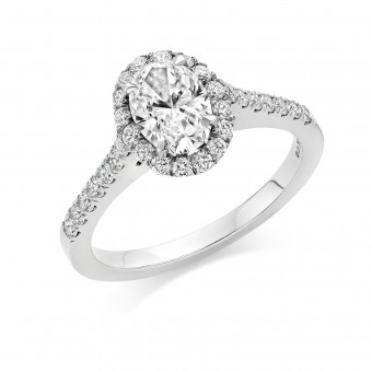 Platinum Pianeti oval halo ring, diamond shoulders 0.78cts