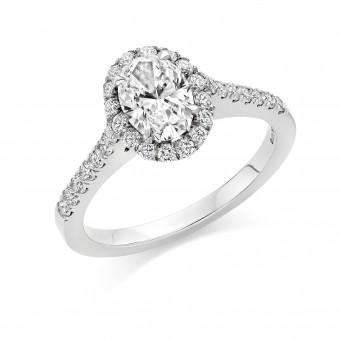 Platinum Pianeti oval halo ring, diamond shoulders 0.66cts