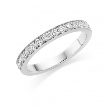 Platinum Amalia round cut diamond true half eternity ring 0.48cts