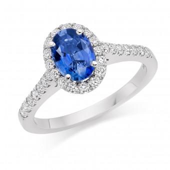 Platinum Pianeti oval sapphire and diamond halo ring, diamond shoulders