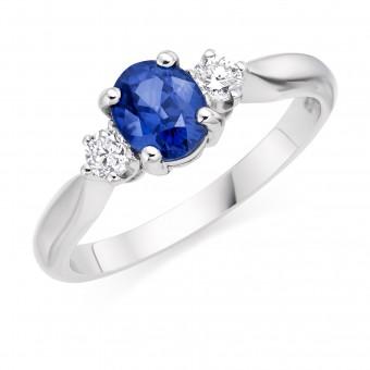 Platinum Nella oval sapphire & diamond three stone ring