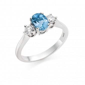 Platinum Nella oval shape aquamarine & diamond three stone ring