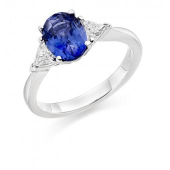 Platinum Roma sapphire & diamond three stone ring