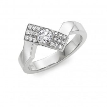 Platinum diamond set Deco Fusion offset ring
