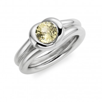 Platinum round cut yellow sapphire Love Knot  tension set ring