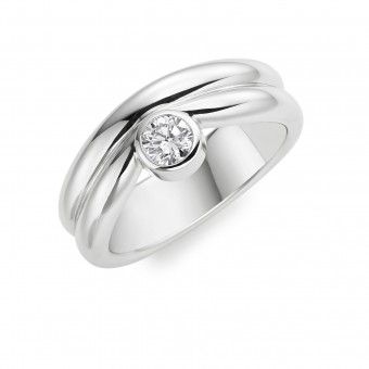 Platinum round cut diamond double band Wave ring
