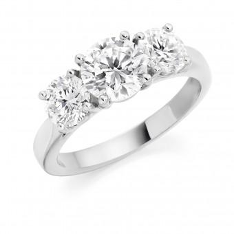 Platinum Liona round cut diamond three stone ring 1.78cts