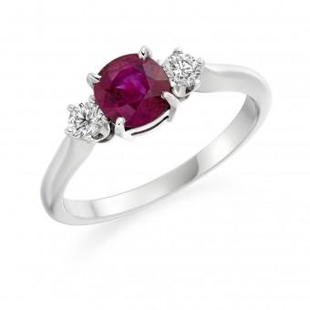 Platinum Nella cushion shape ruby & diamond three stone ring