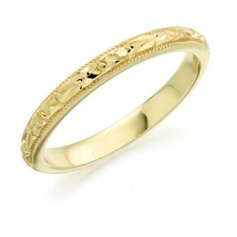 18ct yellow gold 2.5mm orange blossom wedding ring