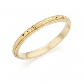 18ct yellow gold 2mm leaf twine wedding ring
