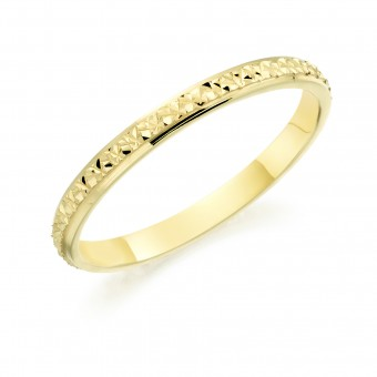 18ct yellow gold 2mm North Star wedding ring