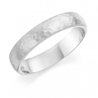 Platinum 4.5mm Cotswold hammered finish court shaped wedding ring