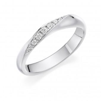Platinum Amalia round cut diamond crossover wedding ring 0.08cts