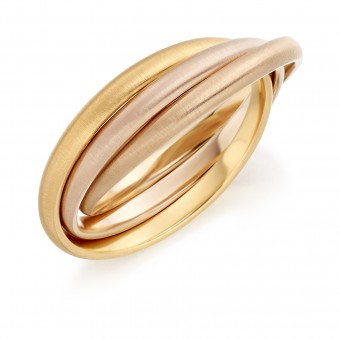 18ct three colour gold Russian wedding ring