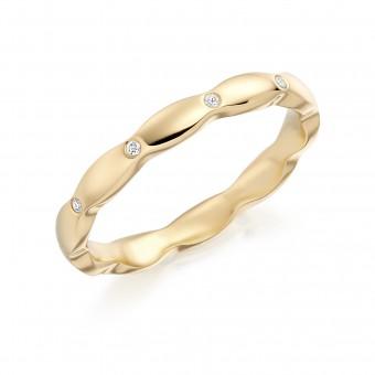 18ct yellow gold 2.5mm Kara diamond set wedding ring