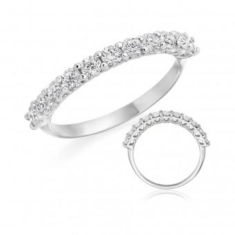 Platinum Heartbeat round cut diamond half eternity ring 0.62cts