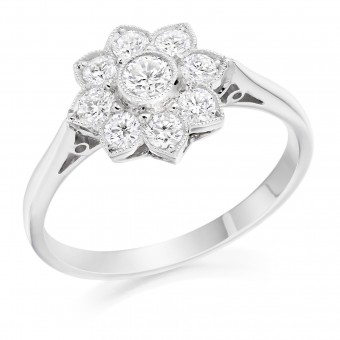 Platinum Donatella nine stone halo diamond ring 0.54cts.
