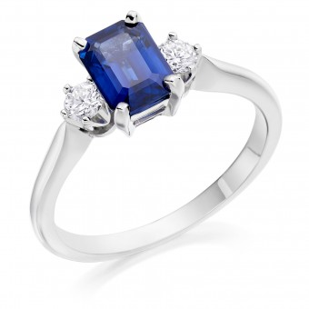 Platinum Nella octagonal shape sapphire & diamond three stone ring