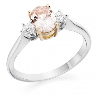 Platinum & 18ct rose gold Nella oval shape natural peach colour sapphire & diamond three stone ring