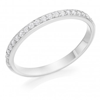 Platinum Nuovo Amalia round cut diamond true half eternity ring 0.20cts