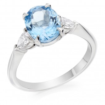 Platinum Gabriella oval aquamarine & diamond three stone ring